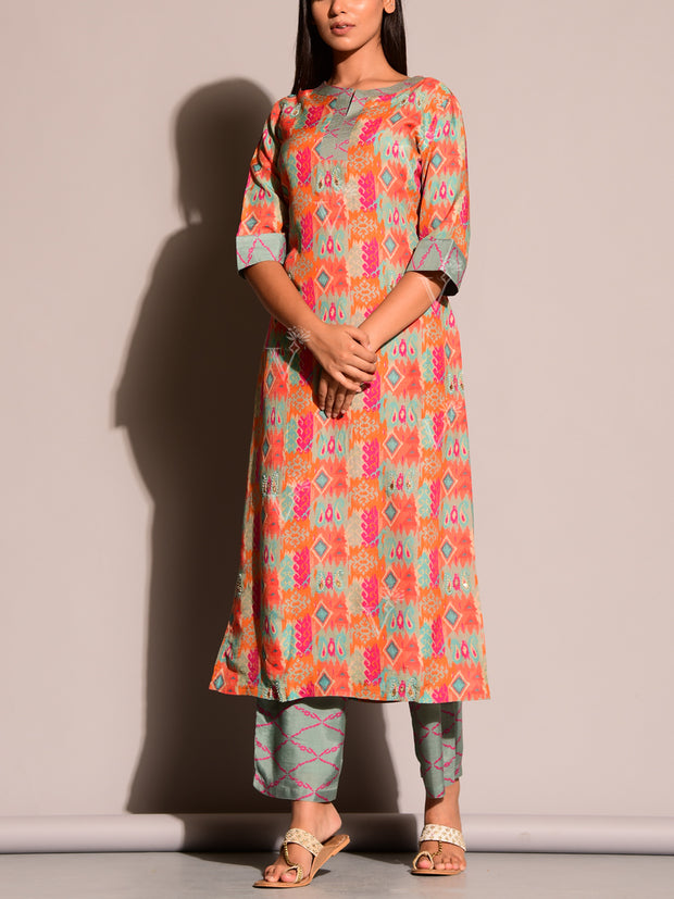 Orange Printed Suit Set