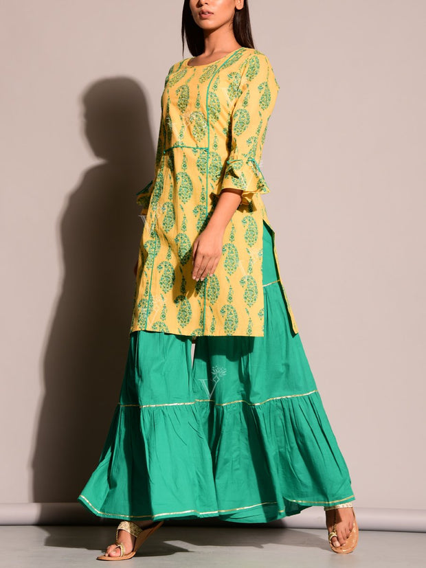 Green And Yellow Sharara Set