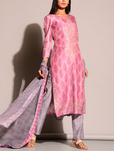 Pink Printed Suit Set