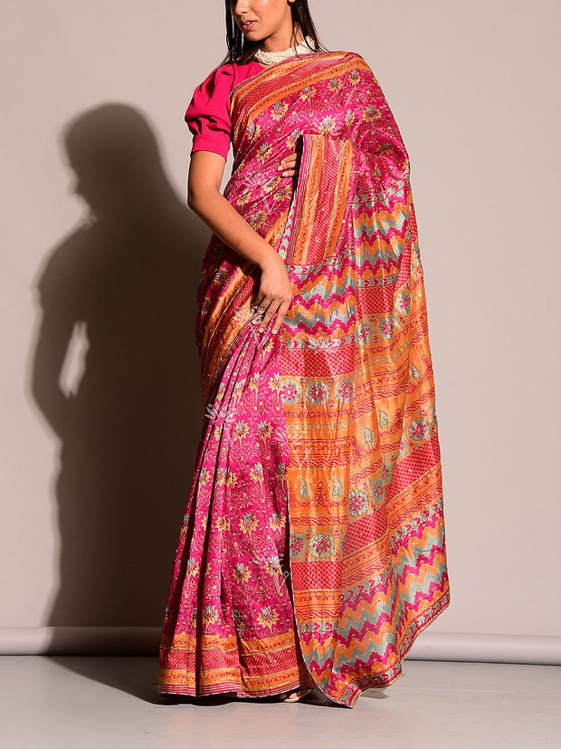 Rani Printed Highlight Saree