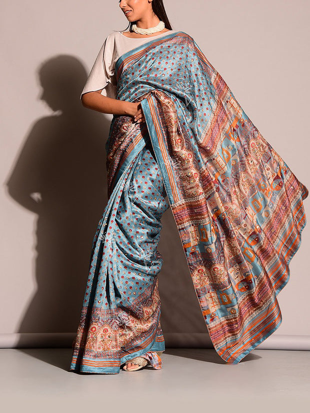 Light Blue Printed Highlight Saree