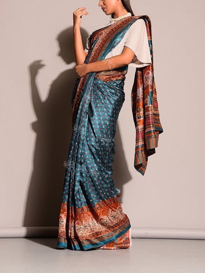 Blue Printed Highlight Saree