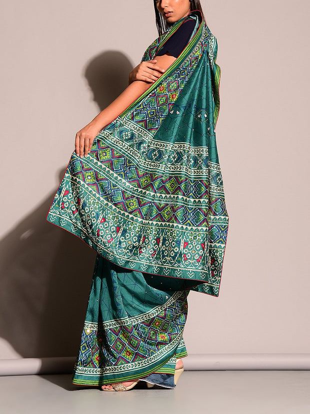 Green Printed Highlight Saree