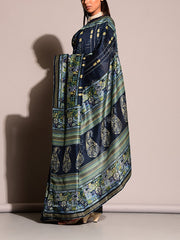 Blue Printed Saree
