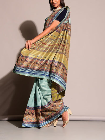 Aqua Green Printed Saree