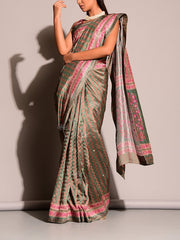 Green Print Highlight Saree