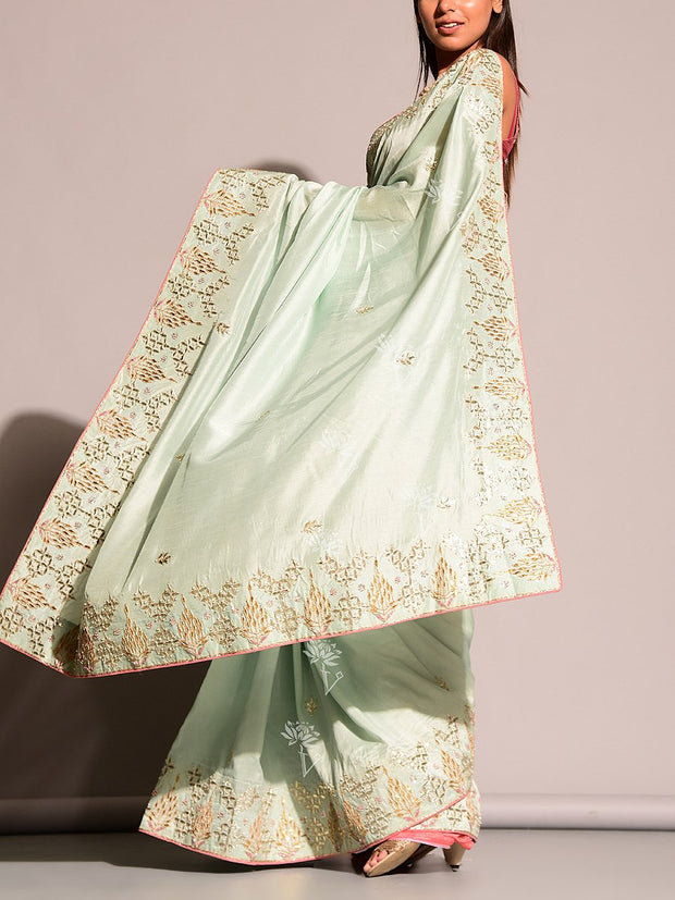 Powder Blue Gotta Patti Saree