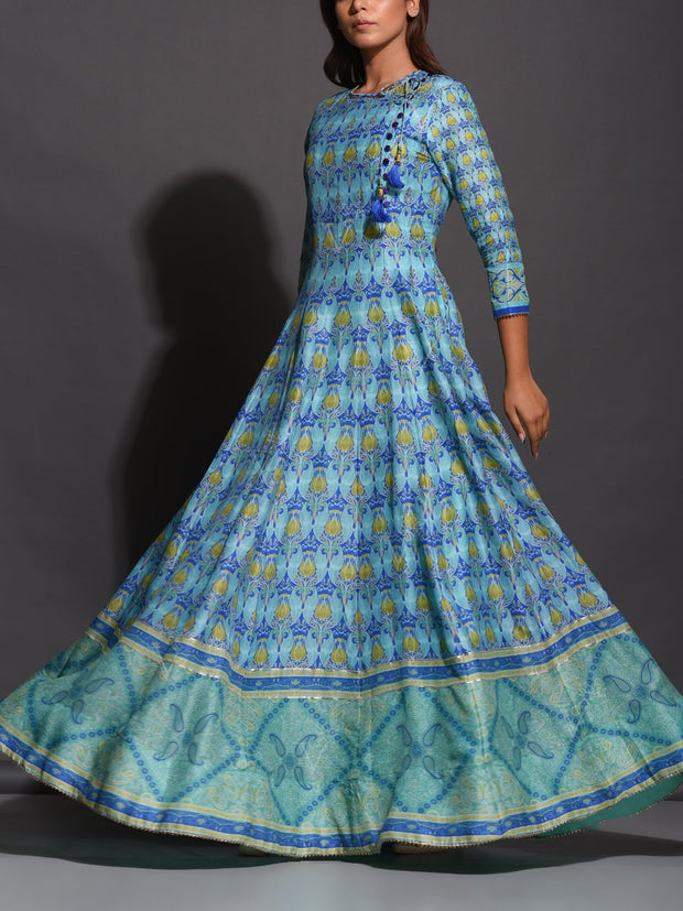 Anarkali, Anarkalis, Gown, Gowns, Traditional, Traditional outfit, Traditional wear, Printed, Silk, Silk gown, Silk anarkali, Light weight
