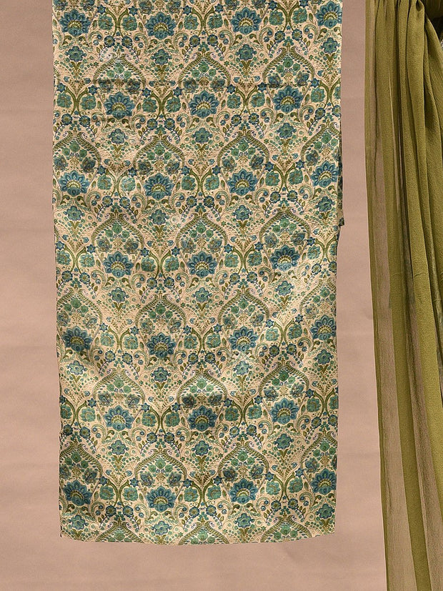 Olive Green Printed Unstitched Suit Set