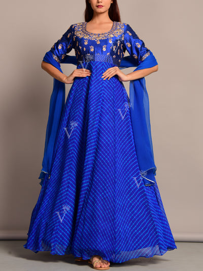 Blue Anarkali Suit Set