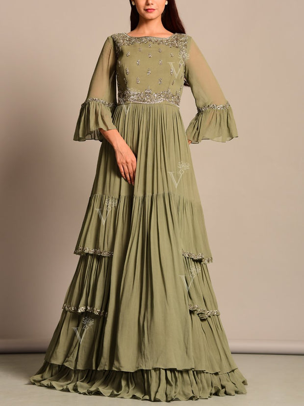 Gown, Anarkali, Gowns, Anarkalis, Fusion wear, Indo western, Designer wear, Party wear, Dress, Georgette, Flared, Heavy