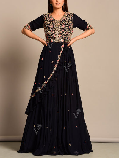 Anarkali, Anarklais, Gown, Floor Lenght, Dress, Indo wester, Fusion wear, Georgette, Party wear, Designer wear, Heavy, Embroidered