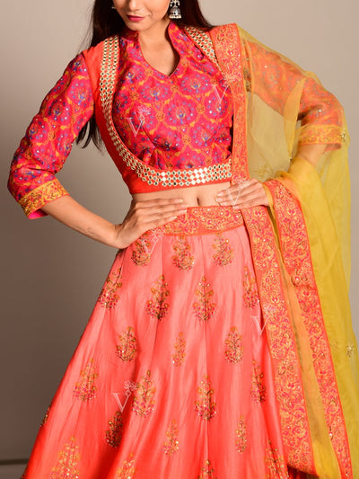 Coral Silk Embroidered Lehenga Set