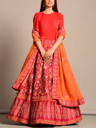 Red-Maroon Silk Printed Lehenga Set