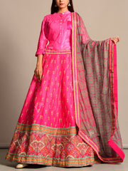Pink Printed Silk Lehenga Set