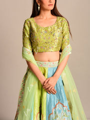 Yellow And Aqua Printed Kallidaar Lehenga Set