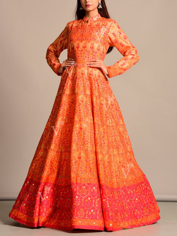 Anarkali, Anarkalis, Suit, Suits, Gown, Gowns, Printed, Silk, Traditional, Traditional wear, Festive wear, Wedding wear, Party wear, Designer wear