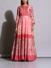 Baby Pink Printed Silk Anarkali Gown