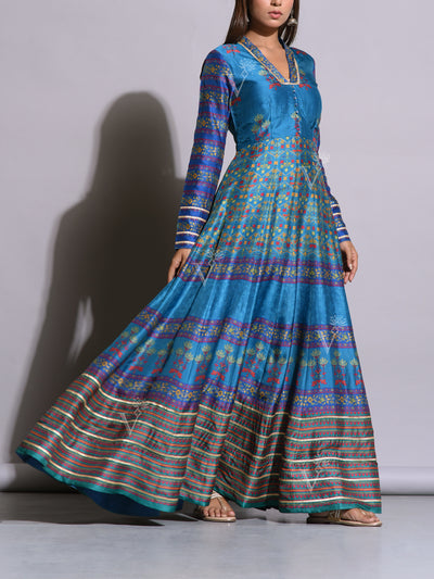 Persian Blue Printed Silk Anarkali Gown