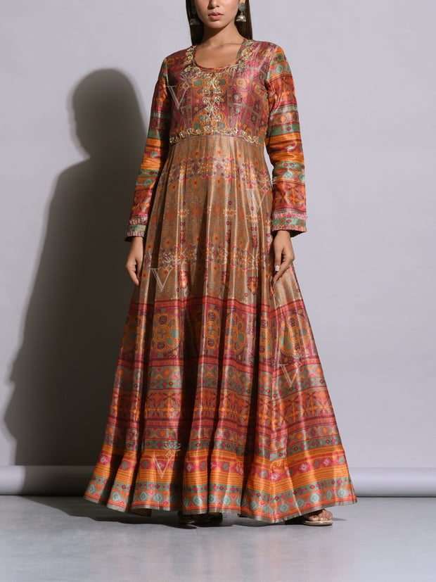 Beige Brown Printed Silk Anarkali Gown