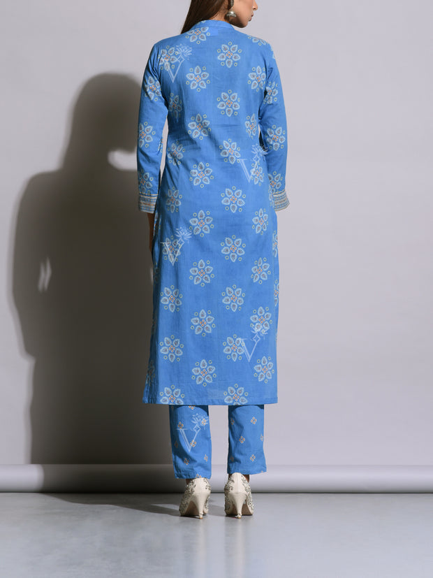 Blue Cotton Printed Kurta Set