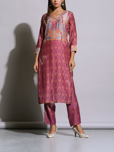Purplish Voilet Silk Printed Kurta Set