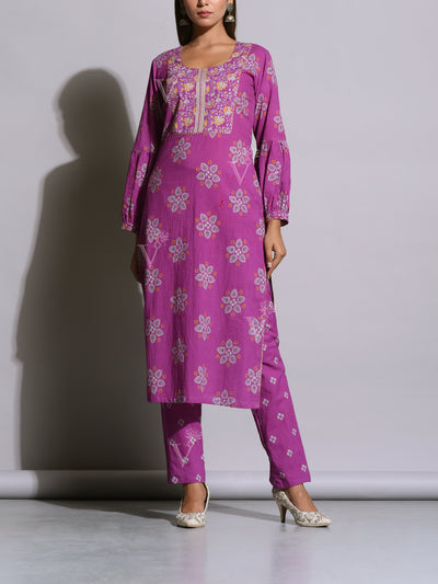 Purple Cotton Printed Kurta Set