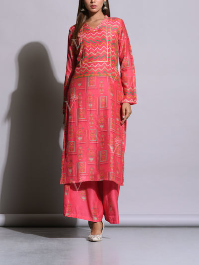 Coral Pink Cotton Silk Printed Kurta Set