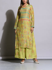 Leaf Green Cotton Silk Printed Kurta Set