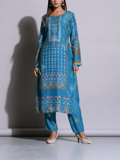 Blue Cotton Silk Printed Kurta Set