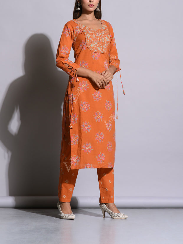 Orange Cotton Printed Kurta Set