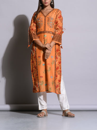 Peach Cotton Silk Printed Kurta Set