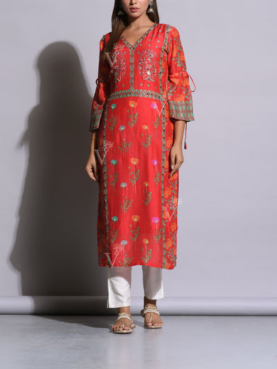 Coral Pink Cotton Silk Printed Kurta
