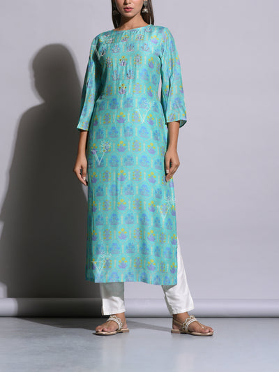 Cyan Blue Printed Cotton Silk Kurti