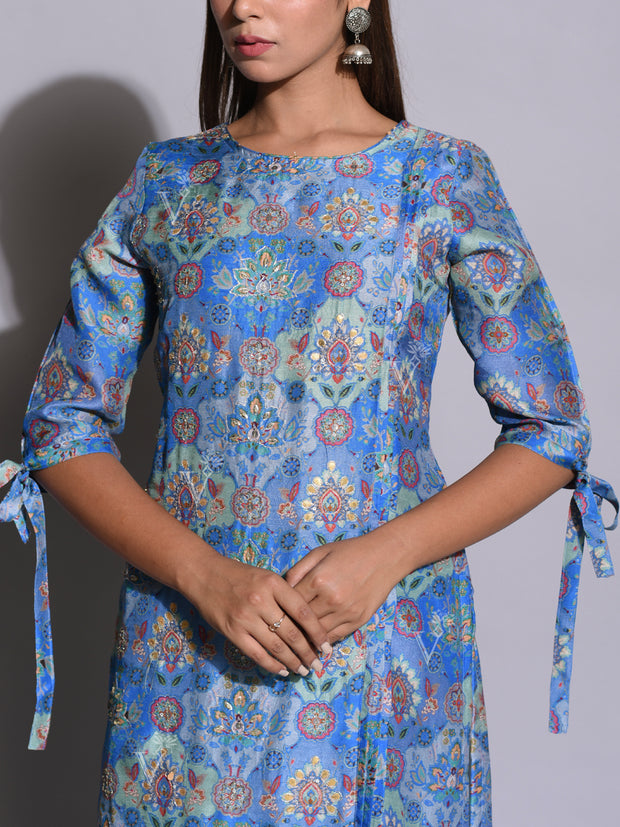 Blue Printed Cotton Silk Kurti