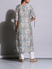 Cobalt Grey Printed Cotton Silk Kurti