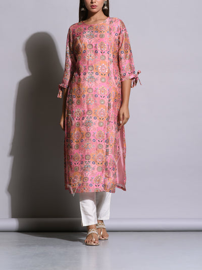 Blush Pink Printed Cotton Silk Kurti