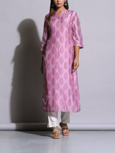 Lavender Printed Cotton Silk Kurti