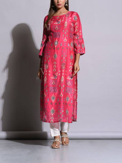 Pink Printed Cotton Silk Kurti