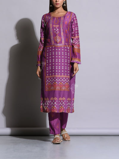 Purple Printed Cotton Silk Kurta Set