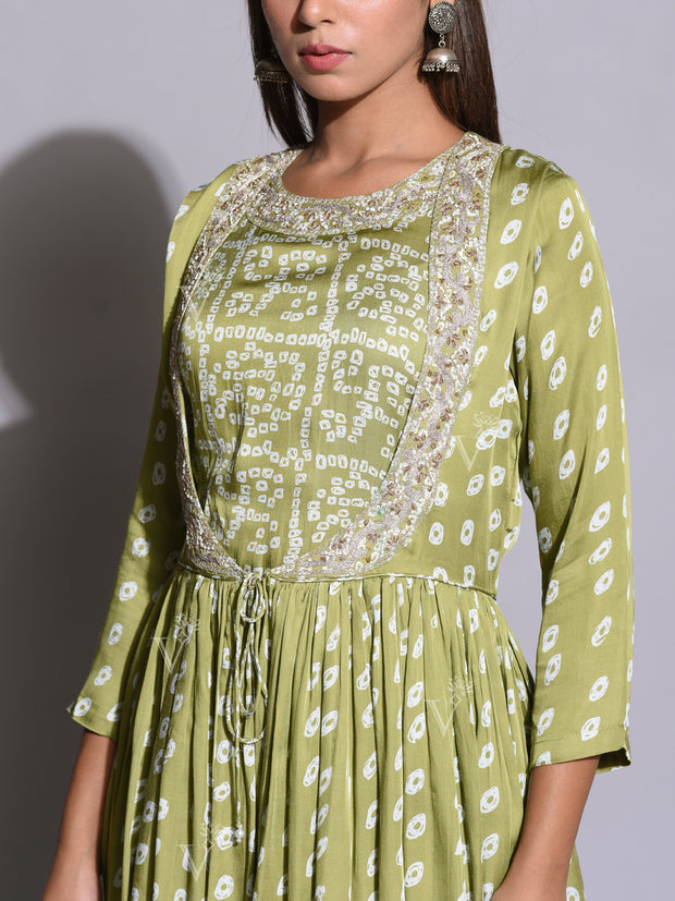Mint Green Bandhani Printed Pant Peplum Set