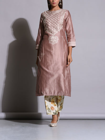 Metallic Lavender Embroidered Kurta Set