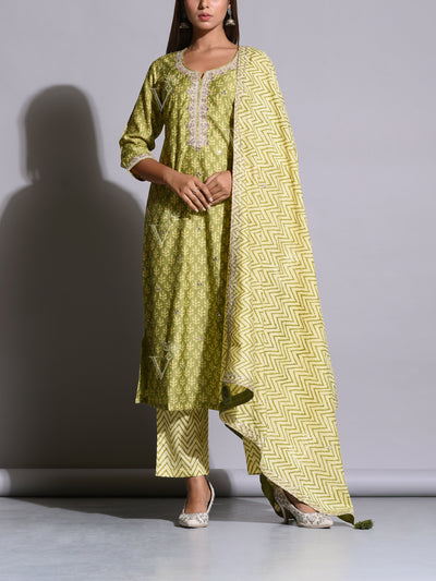 Green Cotton  Printed Suit Set