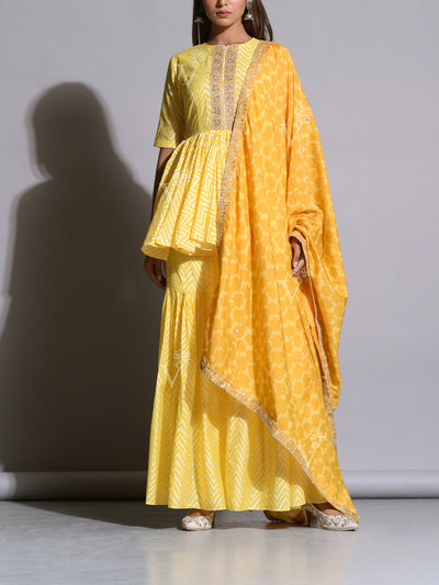 Sun Yellow Printed Sharara With Peplum Top