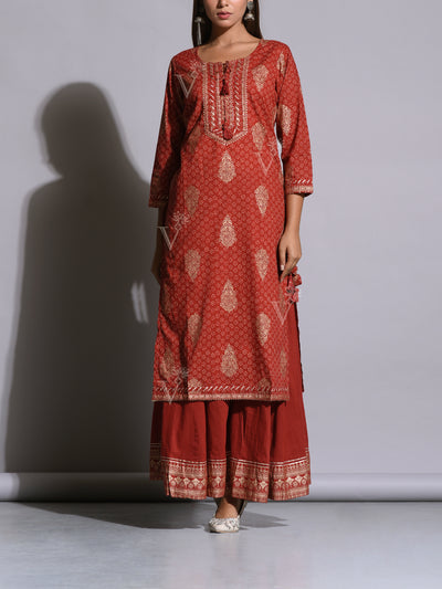 Brick Red Cotton Printed Kurta Set