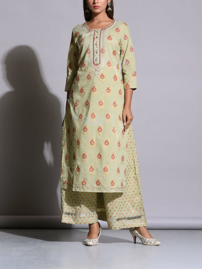 Mint Green Cotton Printed Kurta Set