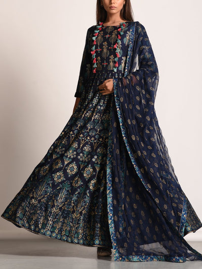 Navy Blue Pearl Brush Anarkali Gown