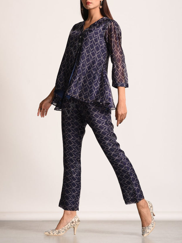 Deep Purple Geometrical Printed Pant Set