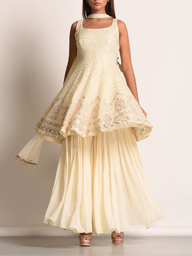 Off White Georgette Sharara With Embroidered Peplum Top