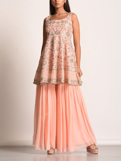 Peach Embroidered Georgette Sharara Set